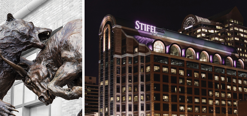 Forces statue by Harry S. Weber and Stifel Headquarter Building in St. Louis, Missouri at night